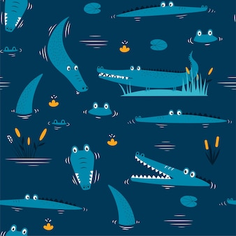 Hand drawing cute crocodile seamless pattern vector illustration for the tshirt design