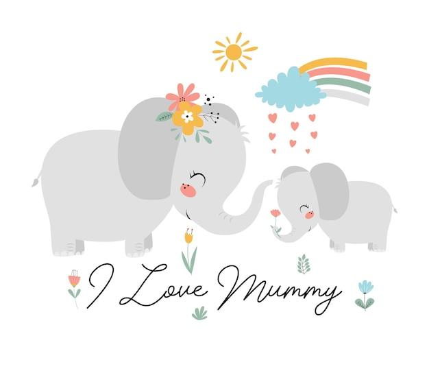 Tシャツのデザインのかわいい象と赤ちゃん象のベクトル図を手描き