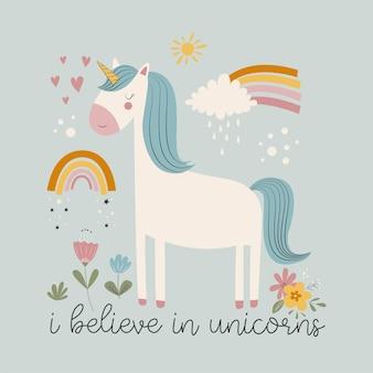 Hand drawing cute unicorn and flowers print design vector illustration design for fashion fabrics