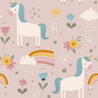 Hand drawing cute unicorn and flowers seamless print design vector illustration design for fashion