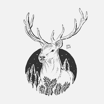 Hand drawing deer in circle