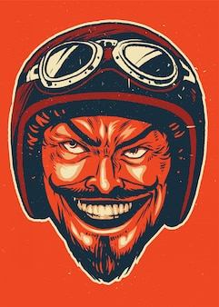 Hand drawing of devil wearing motorcycle helmet