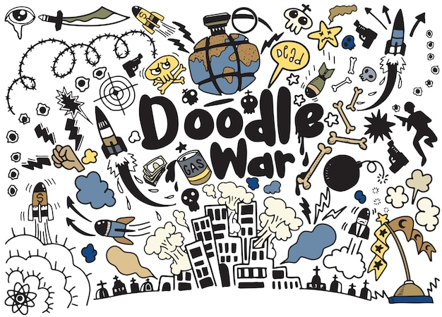 Hand drawing doodle war collection