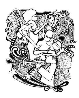 Hand drawing doodles musicians with ornamental