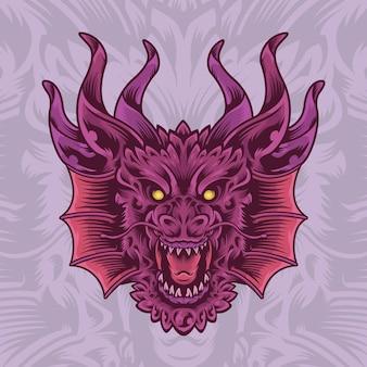 角のロゴのマスコットイラストでドラゴンを描く手描き