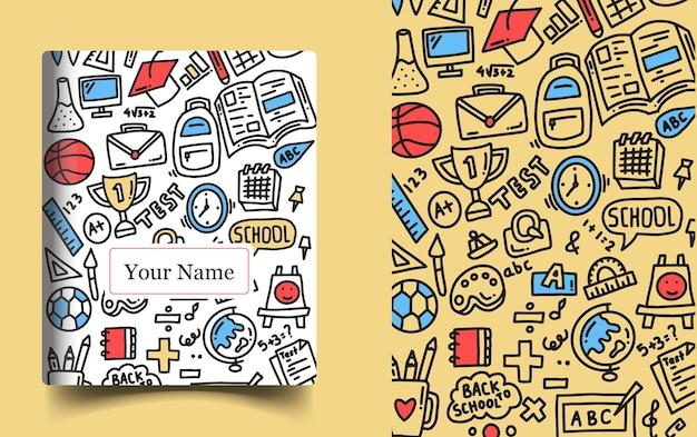 손 그리기 교육 낙서. 책 표지 디자인
