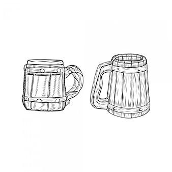 Hand drawing engraved vintage mug wood