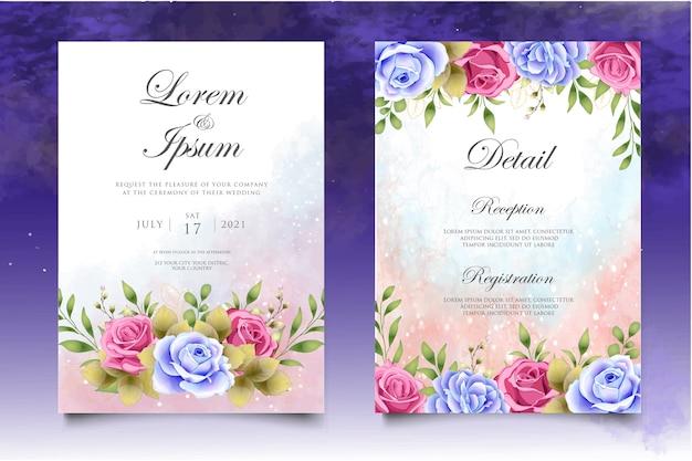 Hand drawing floral wedding invitation card