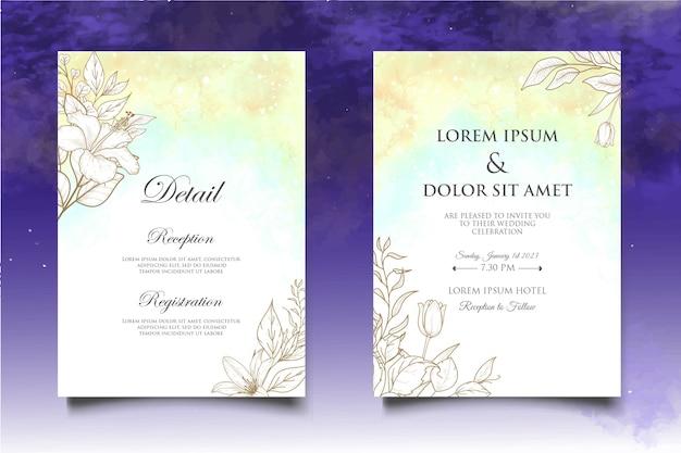 손 그리기 꽃 결혼식 초대 카드