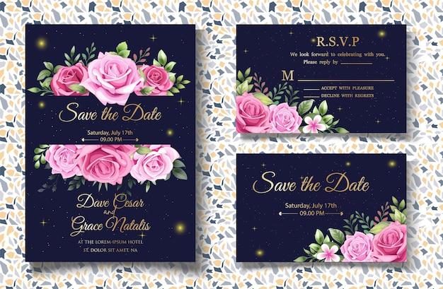 美しい花と花の結婚式の招待状のテンプレートを手描き