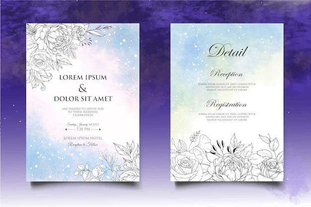 花の結婚式の招待状のテンプレートを手描き