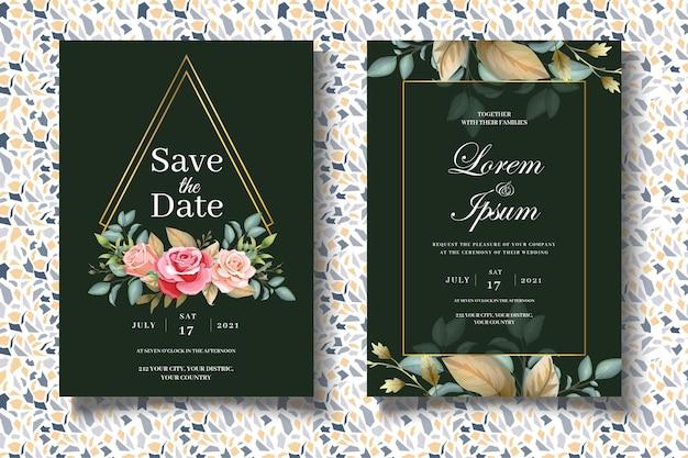 Рука рисунок набор цветочных свадебных шаблонов