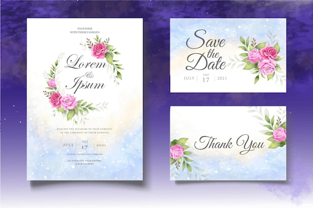 Hand drawing floral wedding template set