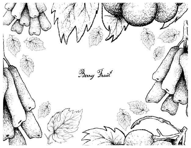 Ручная рисовальная рамка капель луны и виноград пио