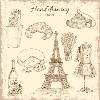 Hand drawing france elements set