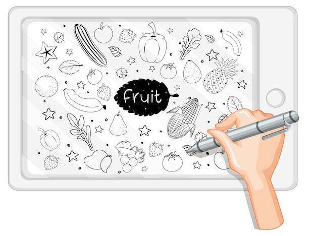 Hand drawing fruit in doodle or sketch style on tablet