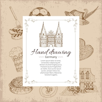 Hand drawing germany card template