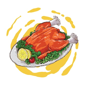Hand drawing of grilled chicken with vegetables
