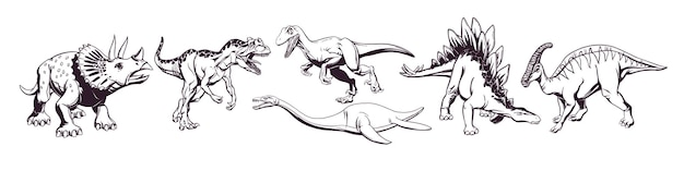 Hand drawing of a group of cute cartoon dinosaurs for printing on t-shirts, mugs, bags and designs. vector illustration.