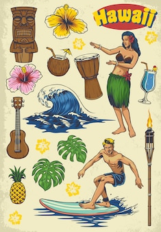 Hand drawing hawaii retro set