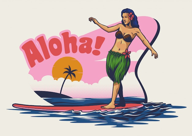 Hand drawing hawaiian girl surfing
