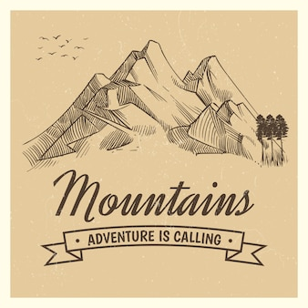 Hand drawing high mountain peak