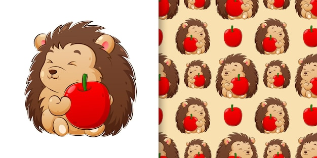 Hand drawing illustration of the hedgehog holding the apple pattern set