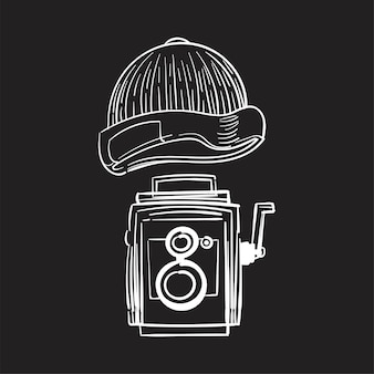Hand drawing illustration of hipster style concept