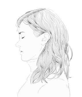 Hand drawing illustration of human face