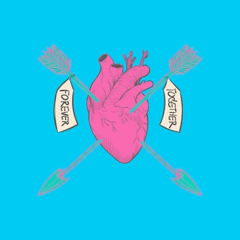 Hand drawing illustration of love concept