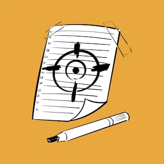 目標は、目標コンセプトの手描きのイラスト