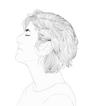 人間の顔の手描きのイラスト