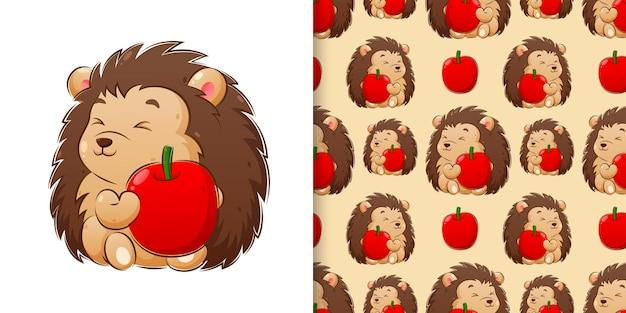 Рука рисунок иллюстрации ежа, держащего набор шаблонов яблока