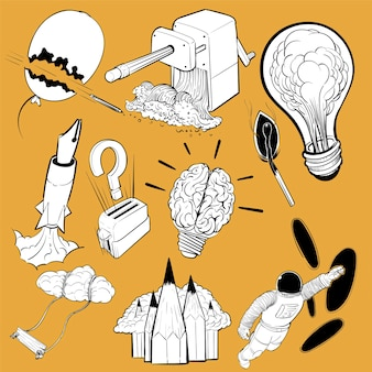 Hand drawing illustration set of creative ideas concept