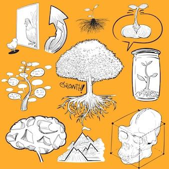 Hand drawing illustration set of development
