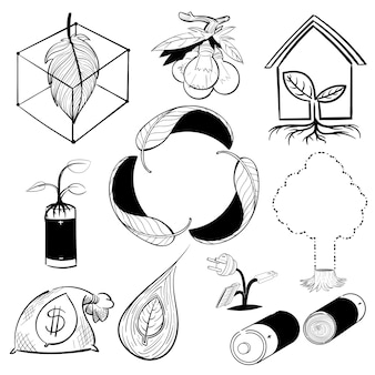 Hand drawing illustration set of environment sustainable