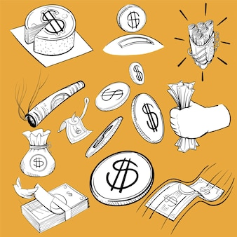 Hand drawing illustration set of finance