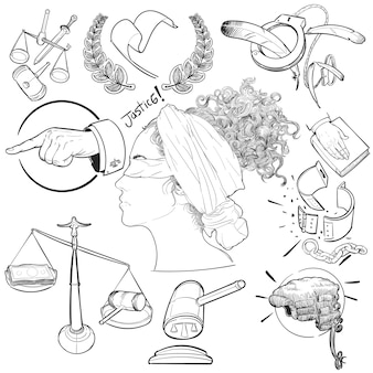 Hand drawing illustration set of justice