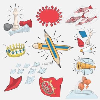 Hand drawing illustration set of leadership