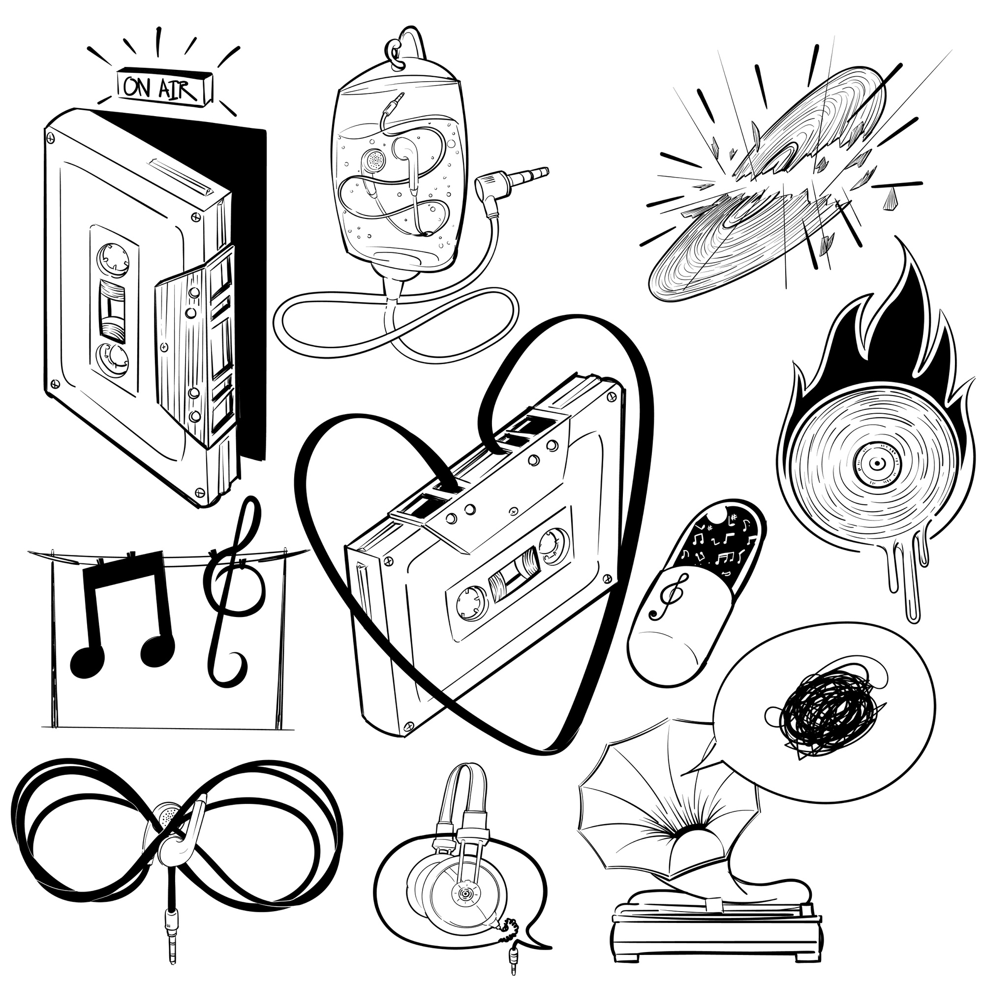 Hand drawing illustration set of music entertainment
