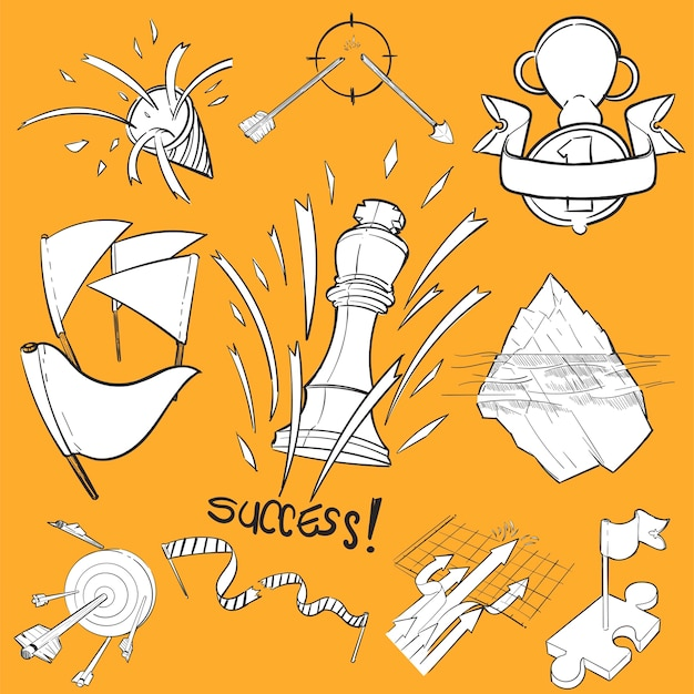 Hand drawing illustration set of successful