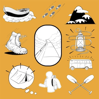 Hand drawing illustration set of wanderlust icons