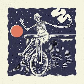 Рука рисунок иллюстрации скелет череп, концепция из скелетного цирка на велосипеде с одним колесом.