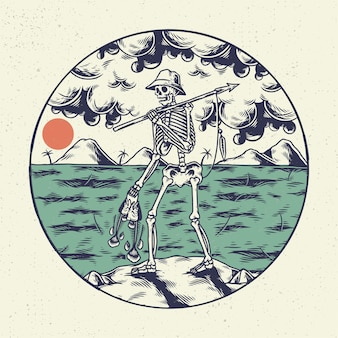 Рука рисунок иллюстрации скелет череп, концепция от скелета, охотящегося на рыбу на пляже.