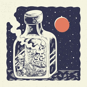 Череп скелета иллюстрации чертежа руки, концепция от самоизоляции скелета внутри бутылки и зажарила цыпленка.