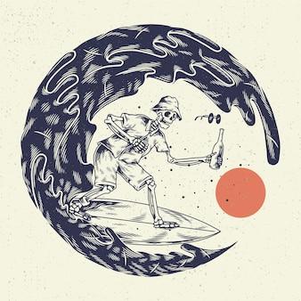 手描きイラストスケルトンスカル、手にビール1本を持って大きな波でスケルトンサーフィンをするコンセプト。