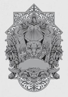 刻まれたラインスタイル、カラカルと野生生物からの概念の手描きのイラスト