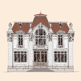 Hand drawing isolated on beige. old brick house with a tiled roof in classic european style.