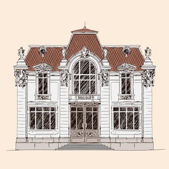 베이지 색에 고립 된 손 그리기입니다. 고전적인 유럽 스타일의 기와 지붕을 가진 오래 된 벽돌 집.