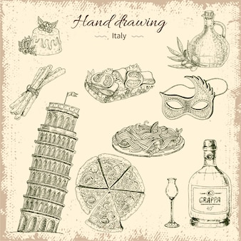 Hand drawing italy elements set